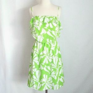 Lilly Pulitzer Silk Green Floral Sleeveless Dress